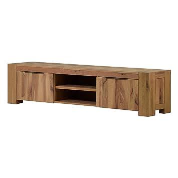 tv lowboard fernsehschrank unterschrank granby 210 cm massivholz holz eiche massiv balkeneiche natural breite