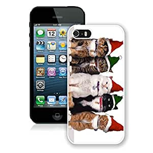 Personalized Iphone 5S Protective Cover Case Christmas Cat iPhone 5 5S TPU Case 25 White