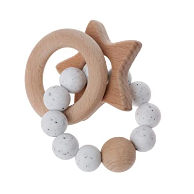 Sarora - Baby Teether Rings Beech Wood Teething Ring Bracelet Silicone Teethers Chew Toys: Sarora: Home & Kitchen