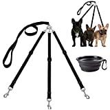MoSANY 3 Way Dog Leash + a Collapsible Travel Bowl, Nylon Adjustable Coupler No Tangle Detachable 3 in 1 Multiple Dog Pet Cat Puppy Leash with Soft Padded Handle (Black)