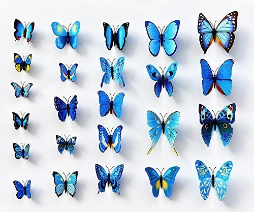 Sangu 3D Blue Butterfly Removable Mural Wall Stickers Wall Decal for Home Decor(Blue) - Cheap Removable Wallpaper