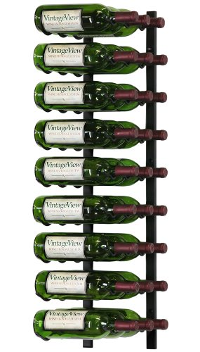 VintageView - WS33-K - 27 Bottle Wall Mounted Metal Hanging Wine Rack - 3 Foot (Satin Black)