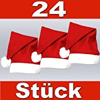 PROMOTION: Lot de 24 Bonnets de Père Noel mere Noël qualité Alsino (wm-32) Coloris rouge et blanc. avec pompon l'accessoire festif idéal pour les fêtes de fin d'année pour se déguiser Prix de gros