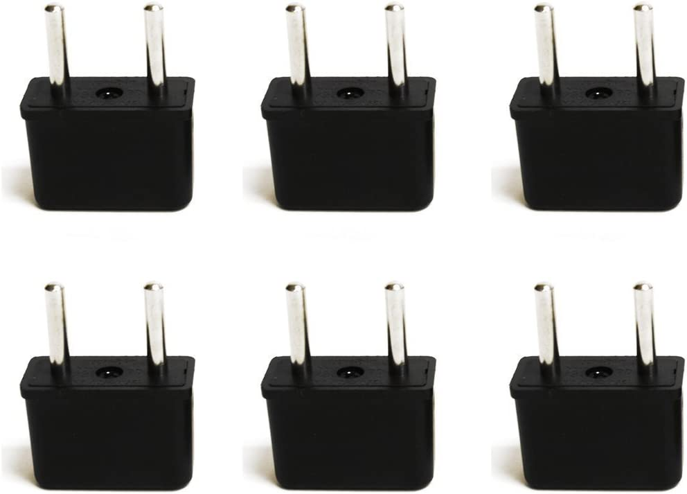 Ceptics USA to Europe Asia Plug Adapter - CE Certified - RoHS Compliant - 6 Pack