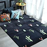 Ukeler Modern Boy and Girls Decorative Bedroom Rugs and Mats Cactus Design Kids Play Rug with Anti-skid Backing, 2'.6x6'