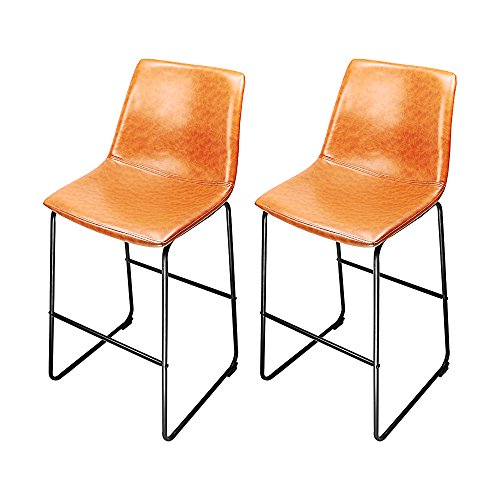 South Pioneer Set of 2 Brown Rustic Leather Dinning Chair Bar Stool on a Black Frame Price is for 2 (Classic Diner Chair)