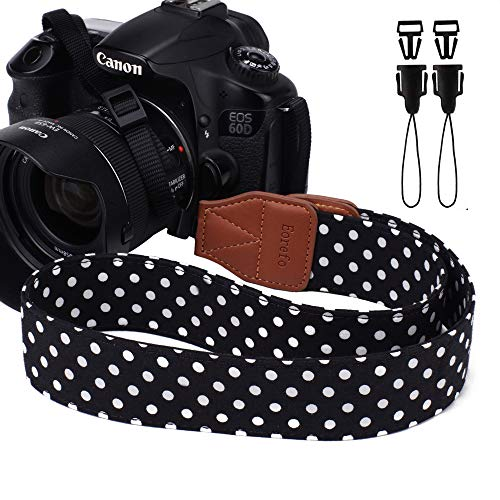 Eorefo Camera Strap Vintage Universal Shoulder Neck Belt Strap for All DSLR Camera Nikon Canon Sony Olympus Samsung Pentax Fujifilm,Black. ()