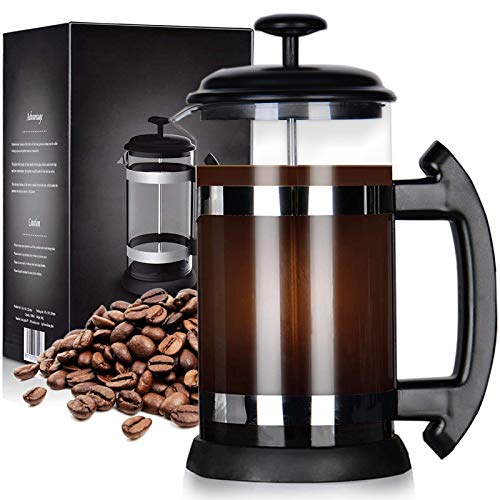 zivxisn Cafetera francesa, 8 tazas, 8 tazas, 34 ml, perfecta para el café por la mañana con vidrio de borosilicato