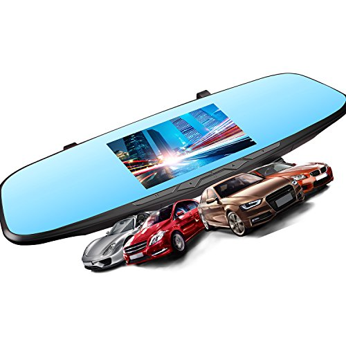 JVIN Dash Camera Mirror for Cars, 4.5' Touch Screen Dash Cam Dual Lens Full HD 1080P Front + 720P Rear 120 Wide Angle Lens Car Video Recorder Backup G-Sensor Loop Recording R10