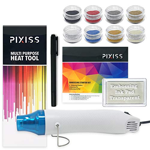 Embossing Powder Heat Tool - Embossing Kit with Heat Tool Bundle, Embossing Powders, Complete Embossing Starter Kit, Clear Embossing Pen, Embossing Ink Pad, 8X 10ml Embossing Powders for Crafts