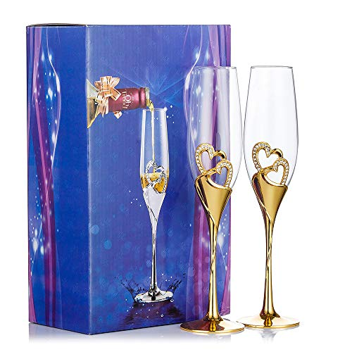 Gold Creative Heart Set with Diamonds Champagne Flutes