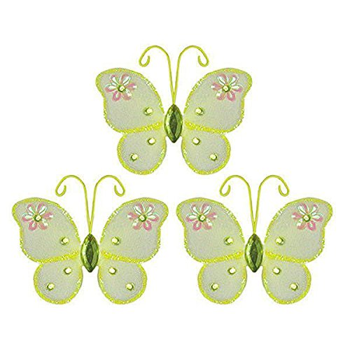 "The Butterfly Grove Adelaide Butterfly Decoration 3D Hanging Mesh Nylon Decor, Yellow Daffodil, Mini, 3"" x 3"""