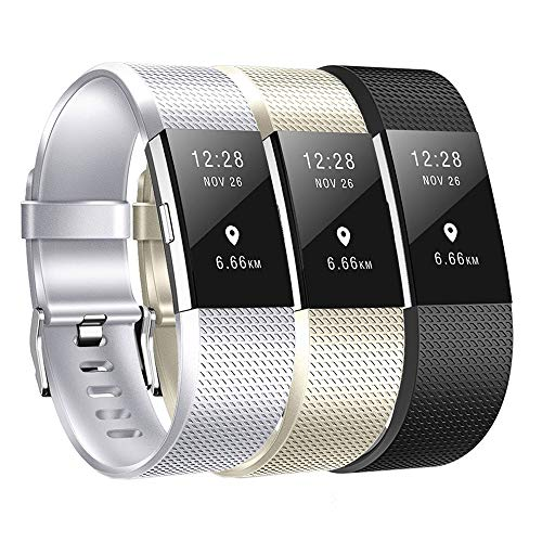 Compatible Fitbit Charge 2 Bands 3pcs Charge 2 Replacement Bands Adjustable Accessory Wristbands for Fitbit Charge 2(Silver Champagne Gold Black Small Size