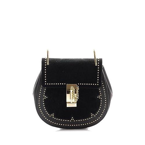 0ee5b9abd94f Viviesta Women s Genuine Real Suede Leather Studded Shoulder Crossbody  Saddle Chain Bag Handbag  Amazon.co.uk  Shoes   Bags