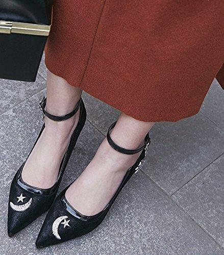 Idifu Womens Trendy Glitter Cinturino Alla Caviglia Scarpe A Punta Tacco Alto A Spillo Nero