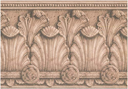 Baroque Wallpaper - Prepasted Wallpaper Border - Victorian Baroque Sepia Wall Border Retro Design, Roll 15 ft. x 13 in.
