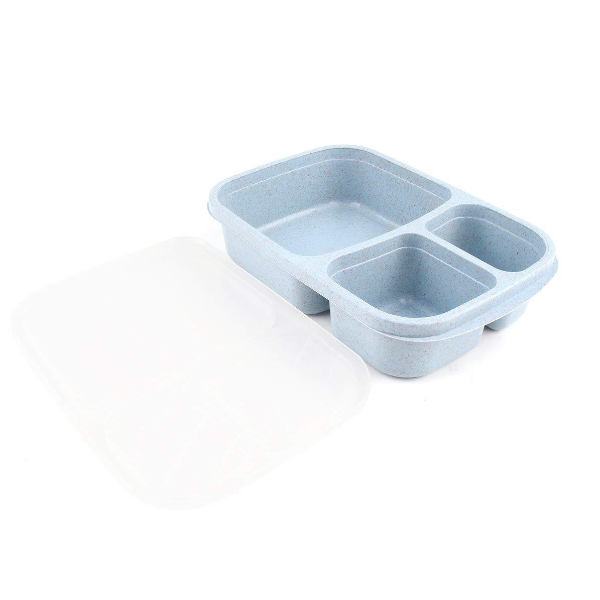 Caja de Bento de paja de trigo 3 rejillas con tapa Caja de comida de microondas Contenedor de almacenamiento biodegradable Almuerzo Caja de Bento Juego de vajilla azul WEIWEITOE