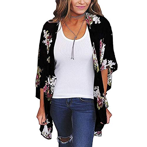 BOSSAND Womens Floral Print Loose Puff Sleeve Kimono Cardigan Lace Patchwork Cover up Blouse (XX-Large, Black 2)