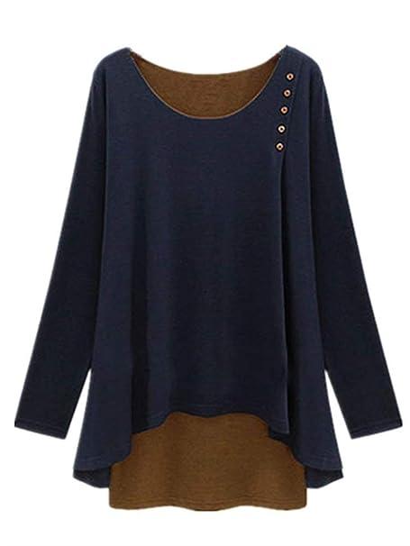 Betrothales Manga Larga Camisa Asimétrica Mujeres Camisas Blusa Tops Redondo Sudadera Jersey Cuello Camisetas Falsa Camisa Piezas Dos Delgado Ajuste Tops: ...