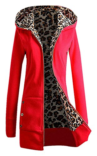 Leopard Trench (BLady Women's Leopard Fur Print Fleece Lined Zip Up Hooded Slim Cotton Jacket, Red M,Manufacturer(XL))