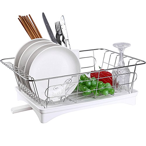 Acrux7 Kitchen Dish Drying Rack & Dish Drainer Tray with Adjustable Outlet to Sink & Spoon Holder, Stainless Steel Dish Rack/White Plastic Accessories, Kitchen Utensil Drying Rack Kit by Acrux7