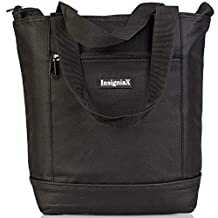 "Insulated Lunch Tote: InsigniaX Carry Lunch Bag For Women Adults Girls Work School Drinks With Long Handle Heavy-Duty Zipper [Insulated Lunch Box]. Size H: 11"" x W: 4"" x L: 14.5"" (Black)"