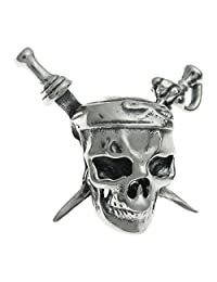 Queenberry Sterling Silver Skull Pirates Crossbones European Style Bead Charm for Pandora