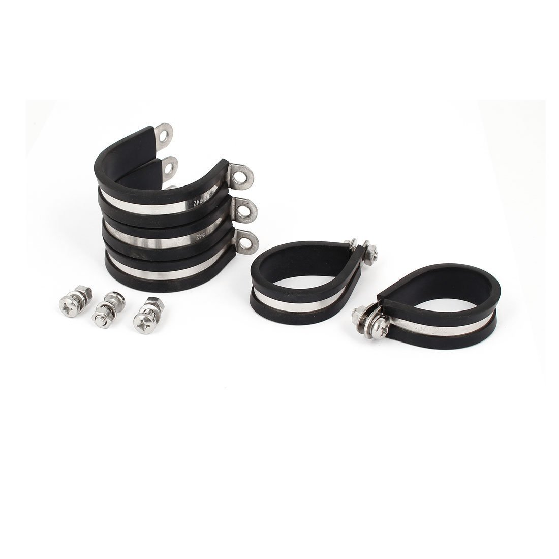 sourcingmap® 42 mm 304 acero inoxidable con revestimiento de goma EPDM P abrazaderas de manguera abrazadera de tubo 5pcs a16081200ux0048
