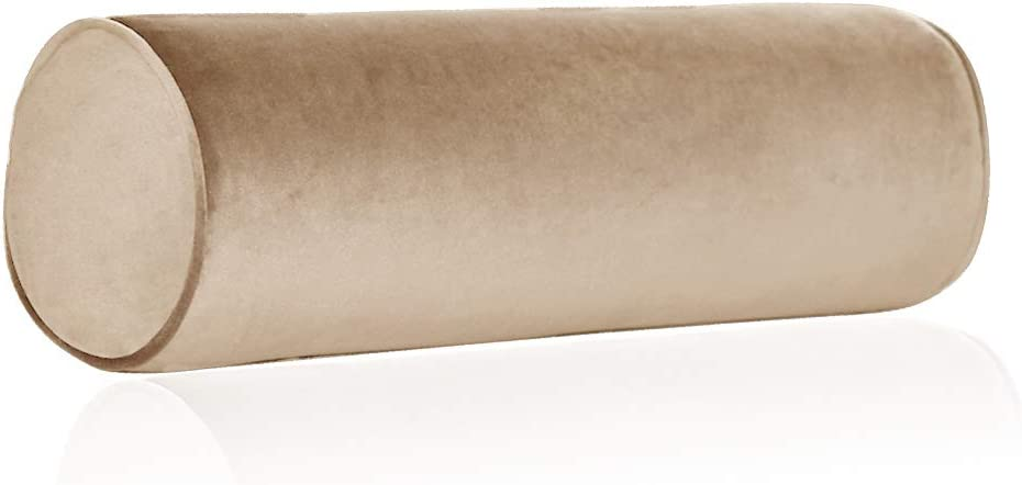"""Tinbolunce Memory Foam Roll Pillow for Knee/Leg/Neck - Full Moon Bolster/Round Cylinder Pillow for Sleeping on Side or Back - Removable Cooling Cover Length 18"""" x 6"""" Diameter (Saddle Brown)"""