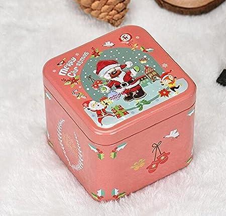 EXOH Lovely adornos Navidad Navidad Candy cajas de galletas de lata de metal tarro de Navidad decoración para el hogar: Amazon.es: Hogar