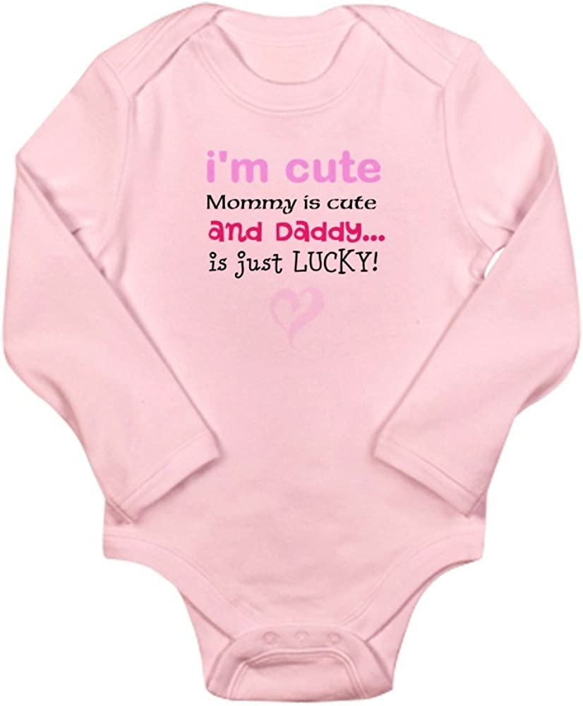 is Just Lucky Cute Long Sleeve Infant Bodysuit Baby Romper Petal Pink and Daddy Mommy is Cute CafePress Im Cute