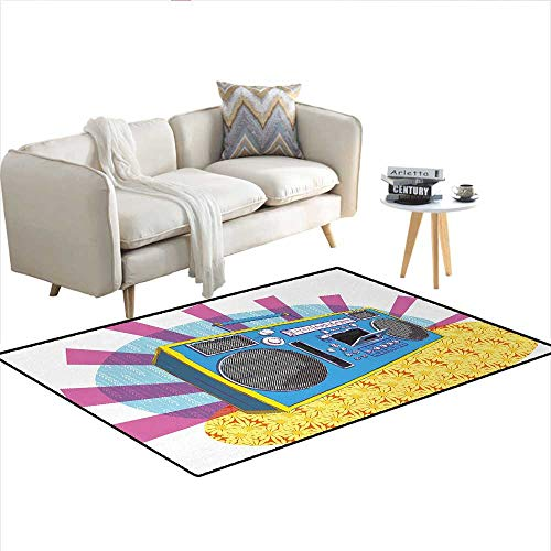 Carpet,Retro Boom Box in Pop Art Manner Dance Music Colorful Composition Artwork Print,Non Slip Rug ()