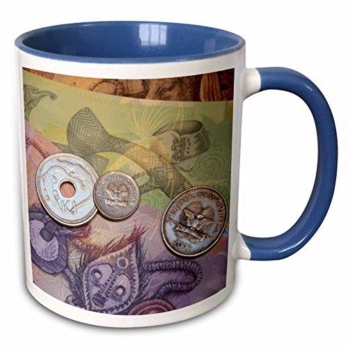 3dRose Danita Delimont - Currency - Papua New Guinea. Village of Vanimo. Colorful PNG money. - 15oz Two-Tone Blue Mug (mug_228535_11)