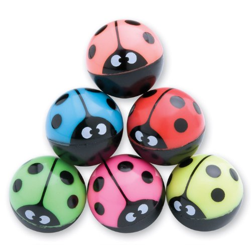 SmileMakers 29mm Colorful Ladybug Bouncing Balls - 36 per Pack ()