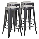 Mimo Life Metal Modern Barstool Set of 4 Backless Indoor Outdoor Stackable Bar Stools with Square Seat, 30 inches High, Gun Metal
