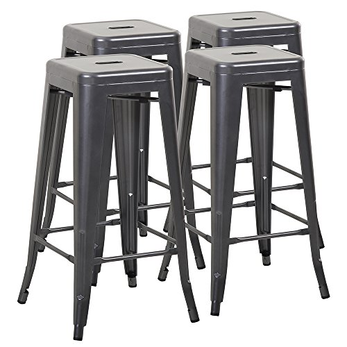 Mimo Life Metal Modern Barstool Set of 4 Backless Indoor Outdoor Stackable Bar Stools with Square Seat, 30 inches High, Gun (Outdoor Stackable)
