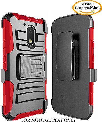 Moto G4 Play Case, Moto G Play Case 4th Generation, JATEM Hybrid Case Kickstand Belt Clip + 2 HD Screen Protectors (Black/Red)