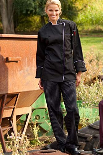 Uncommon Threads Unisex Yarn Dyed Baggy Chef Pant, Black/White Pinstripe, Small
