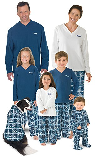 (PajamaGram Snowflake Fleece Matching Family Pajama Set, Dog X-Small, Blue/White)