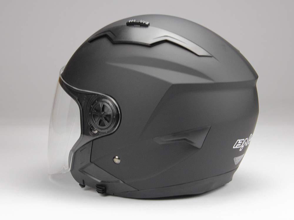 BNO Jethelm mit Langvisier Jet300 Motorradhelm Roller Helm Schutzhelm Matt Schwarz S-XXL XXL