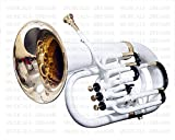 eMusicals Euphonium Bb Pitch 4 Valve With Free Bag and MouthPiece , White Color