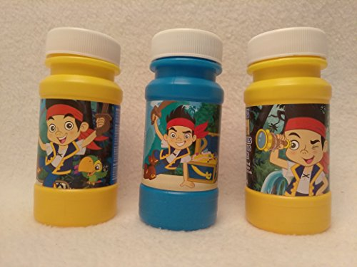 Kids Spring Summer Fun Backyard Outdoor Playtime Ultimate SET OF 3 Jake the Neverland Pirate Bubble Maker Birthday Party Favor, 4 oz, Blue/Red
