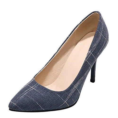Carolbar Women's Grace Fashion Stiletto High Heel Pointed Toe Court Shoes Blue YPTyiiACo