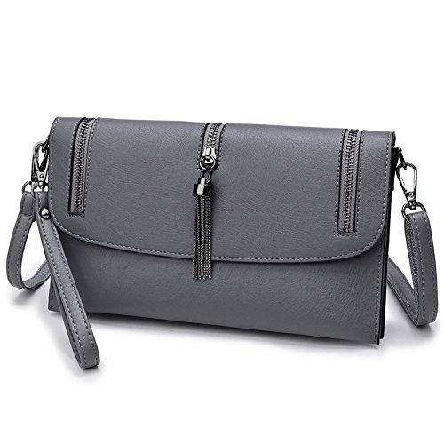 Donne Frangia Grigio Dhfud Messenger Borsa Bag Moda A Tracolla YYq1r