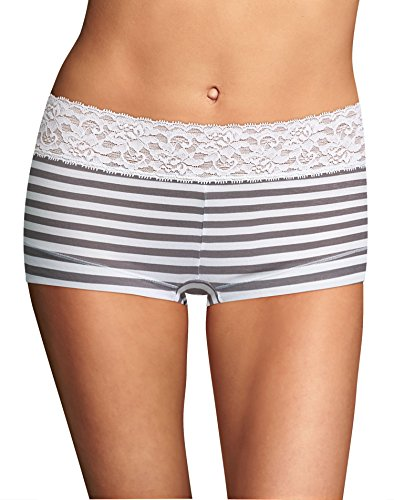 - Maidenform Cotton Dream Lace Trim Boyshort Panty Steel Stripe 5