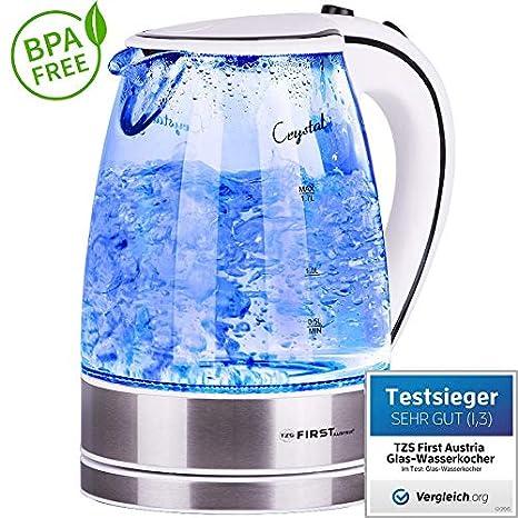 2200W Glas Edelstahl Wasserkocher 1,7 Liter kabellos Kalkfilter blaue LED weiss