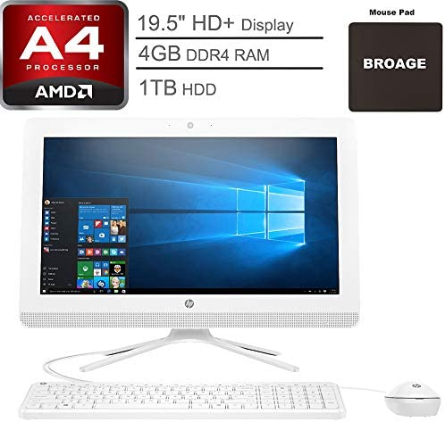 Hp 20 Aio 19 5 Hd All In One Desktop Computer Amd A4 9125 Up To 2 6ghz 4gb Ddr4 Ram 1tb Hdd Dvdrw 802 11ac Wifi Bluetooth 4 2 Usb 3 1 Snow White Windows 10 Home Broage Mouse