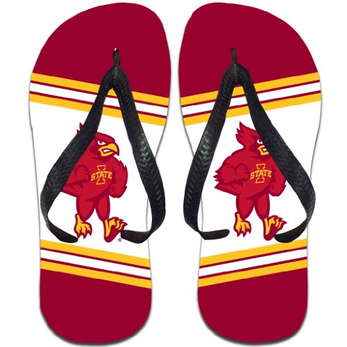 VictoryStore Apparel - Iowa State University Cy The Cardinal Flip Flops, Small - Mens 7.5