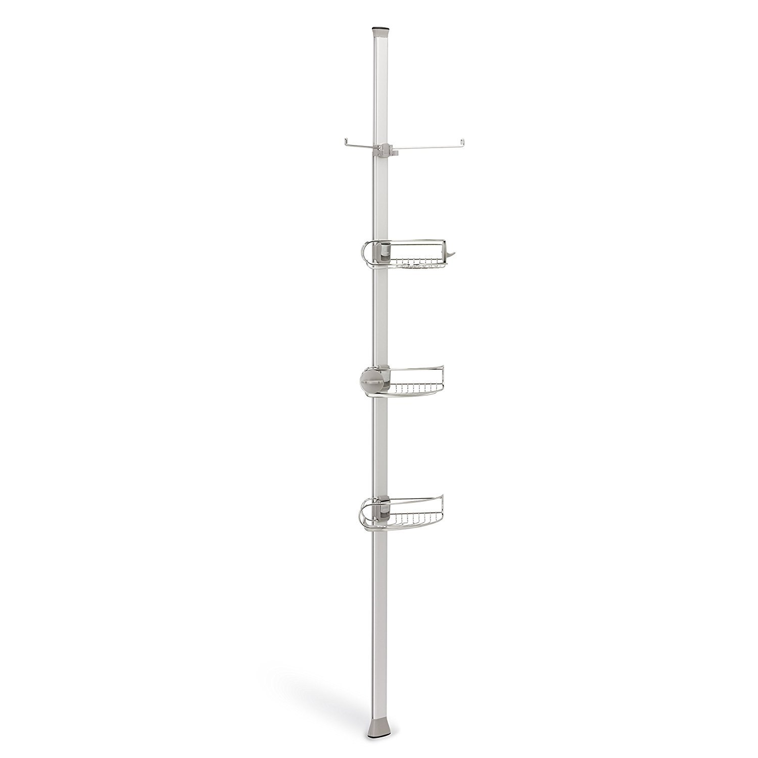 Tier basket shower caddy mild steel rust free stick n lock bathroom - Amazon Com Simplehuman Tension Shower Caddy Adjustable Tension Pole Stainless Steel And Anodized Aluminum Home Kitchen