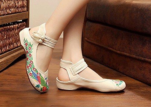 Avacostume Sandali Estivi Da Donna Con Cinturino Alla Caviglia E Doppia Fibbia Da Caviglia Con Ricamo Cinese